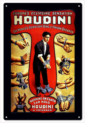 Harry Houdini Poster turned into a 12x18 sign