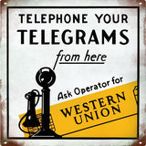 Old Western Union Telegrams Sign Vintaged 12x12