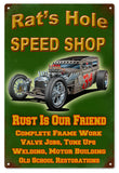 Vintage Rats Hole Speed Shop Hot Rod Sign 16x24