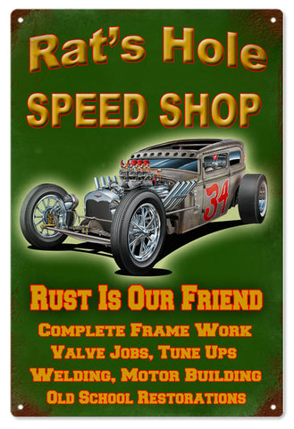 Rats Hole Speed Shop 12x18 sign