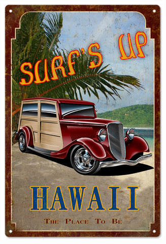 Surfs Up Hawaii Sign 16x24
