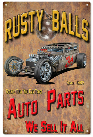 Rusty Balls Auto Parts Garage Art Sign