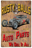 Rusty Balls Auto Parts Garage Sign 16x24