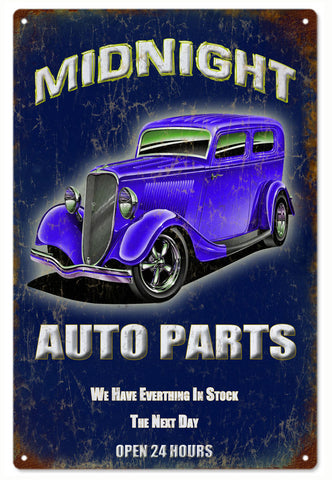 Vintage Midnight Auto Parts Hot Rod Sign 16x24
