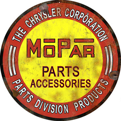 Vintage MoPar Chrysler Corp Parts Sign 14 Round