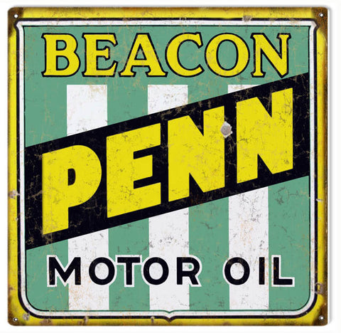 Vintage Beacon Penn Motor Oil Sign 12x12
