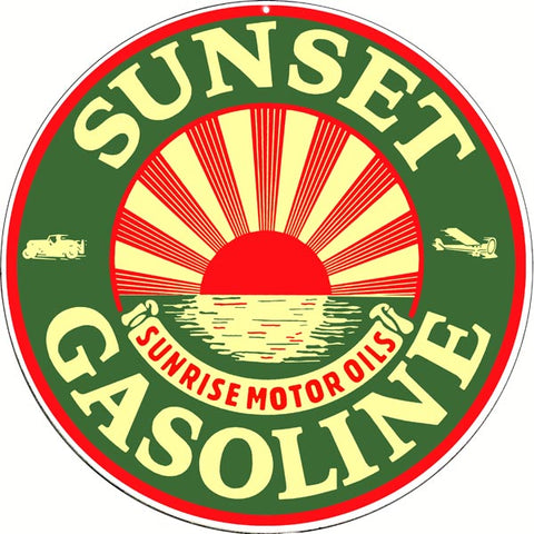 Sunset Gasoline Sign 14 Round