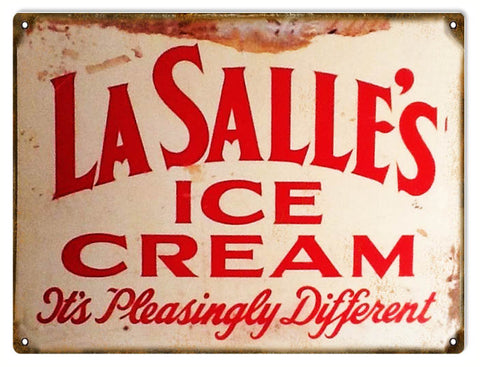 Vintage LaSalles Ice Cream Sign 9x12