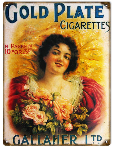 Vintage Gold Plate Cigarettes Sign 9x12