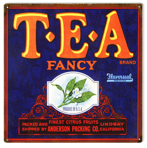Vintage TEA Produce Sign 12x12
