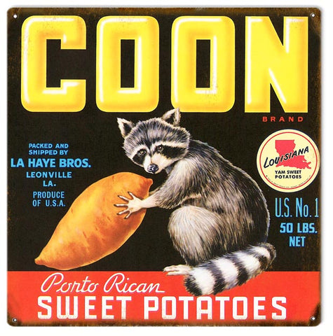 Vintage Coon Sweet Potatoe Sign 12x12