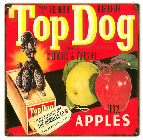 Vintage Top Dog Apple Produce Sign 12x12
