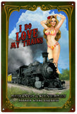 Vintage Love My Train Pin Up Girl
