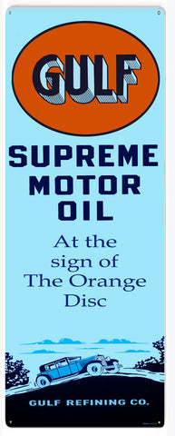 Gulf Supreme Motor Oil Sign 8x24