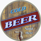 Cold Beer Sold Here Sign 14 Round