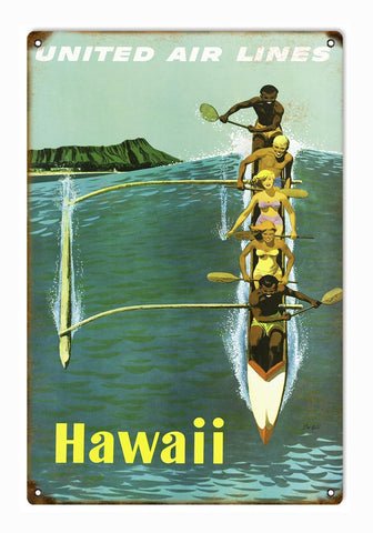 Vintage United Airlines Hawaii Sign