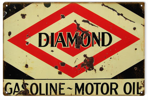 Vintage Diamond Motor Oil Sign