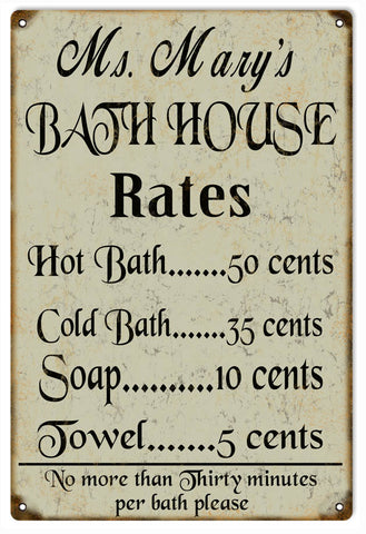 Vintage Ms Marys Bath House Sign
