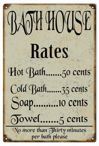 Vintage Bath House Sign