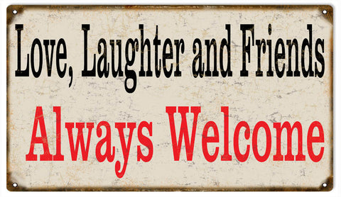 Vintage Friends Welcome Sign 8x14