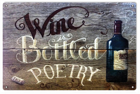 Vintage Wine Is Bottled Poetry Sign