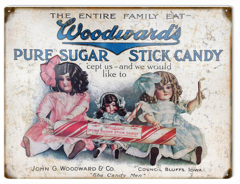 Vintage Woodwards Stick Candy Sign 9x12