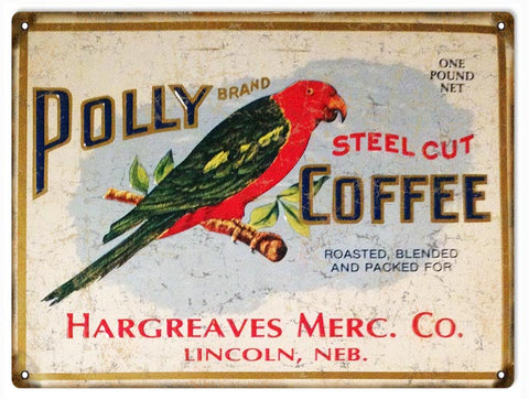 Vintage Polly Coffee Sign 9x12