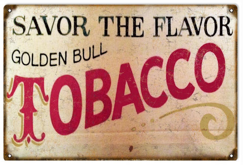 Vintage Golden Bull Tobacco Sign