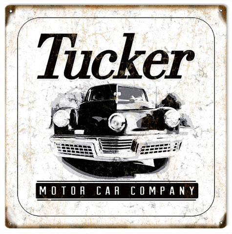Vintage Preston Tucker Automobile Sign 12x12