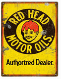 Vintage Red Head Motor Oil Sign 9x12