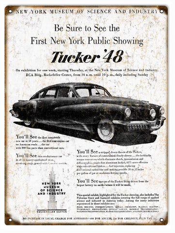 Vintage Tucker 48 Automobile Sign 9x12