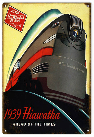 Vintage 1939 Hiawatha Railroad Sign