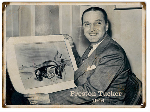 Vintage Preston Tucker 1946 Picture Sign 9x12