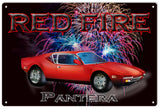 Red Fire Pantera Hot Rod Garage Art Sign