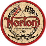 Classic Norton Motorcycle Sign Round 14