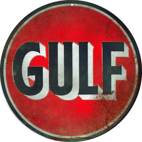 Gulf Station Motor Oil Sign 14 Round