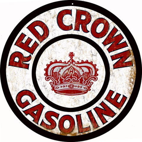 Red Crown Gasoline Sign Round 14