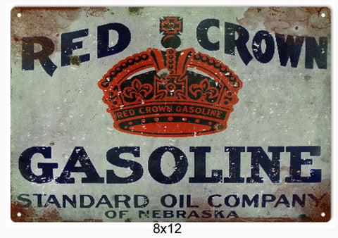 Red Crown Gasoline Standard Oil Sign 8x12