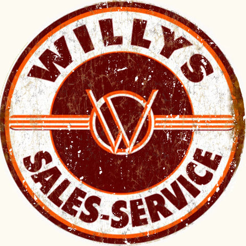Willys Sales Service Vintage Hot Rod Sign Round 14