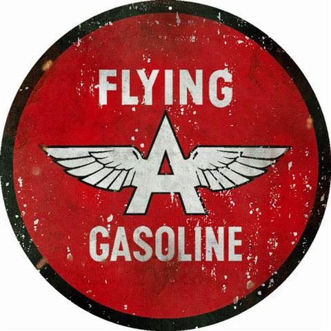 Vintage Flying Gasoline Sign 18 Round
