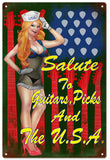 Vintage Looking Guitar Pin Up Girl Sign