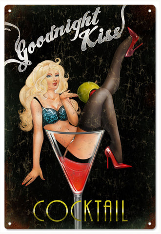 Goodnight Kiss Pin Up Girl Vintage Sign