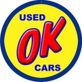 Used Ok Cars Garage Sign 18 Round