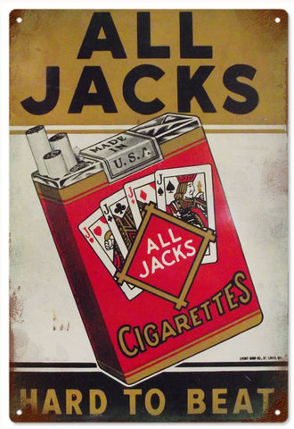 Vintage All Jacks Cigarettes Sign