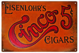 Vintage Cinco Cigar Sign