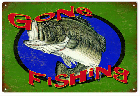 Vintage Gone Fishing Sign