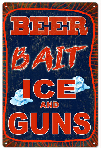 Vintage Beer Bait Ice And Guns Sign