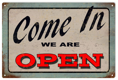 Vintage Come In We Are Open Bar Sign