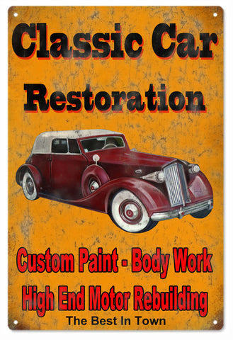 Vintage Classic Car Restoration Hot Rod Sign 16x24
