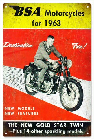 Vintage B.S.A. Motorcycle Sign